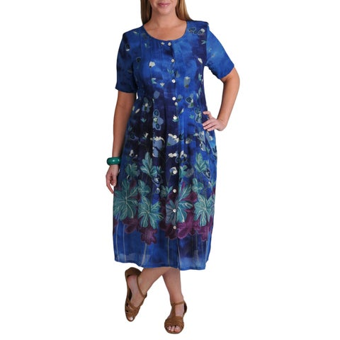 La Cera Women's Plus Border Print Pleated Dress