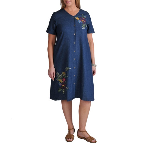 La Cera Women's Plus Denim Embroidered Dress