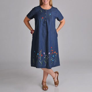 La Cera Women's Plus Embroidered Denim Dress