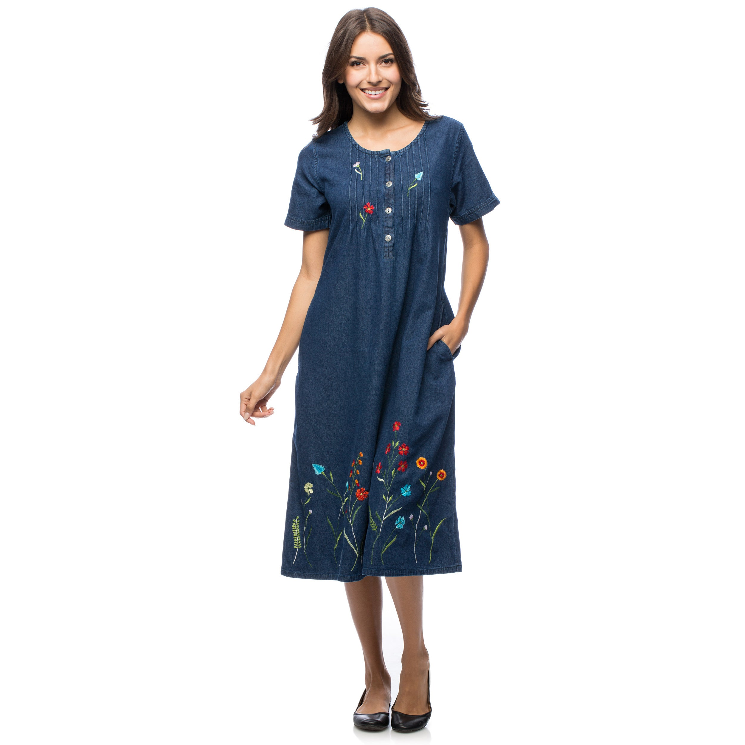 La Cera Women's Embroidered Denim Dress (M), Blue
