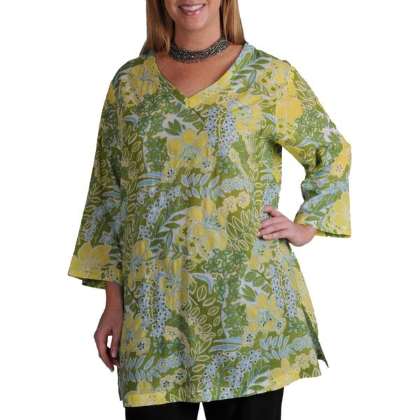 La Cera Women's Plus Floral Cropped Sleeve Tunic Top