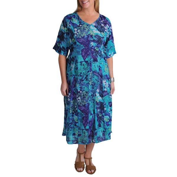 La Cera Women's Plus Floral Short Sleeve Dress