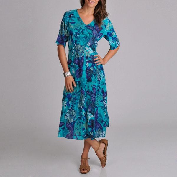 La Cera Women's Floral Short Sleeve Dress