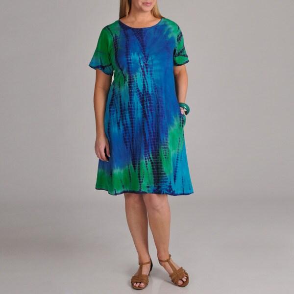 La Cera Women's Plus Tie-dye Short Sleeve Dress