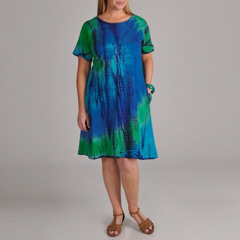 La Cera Women's Plus Tie-dye Short Sleeve Dress