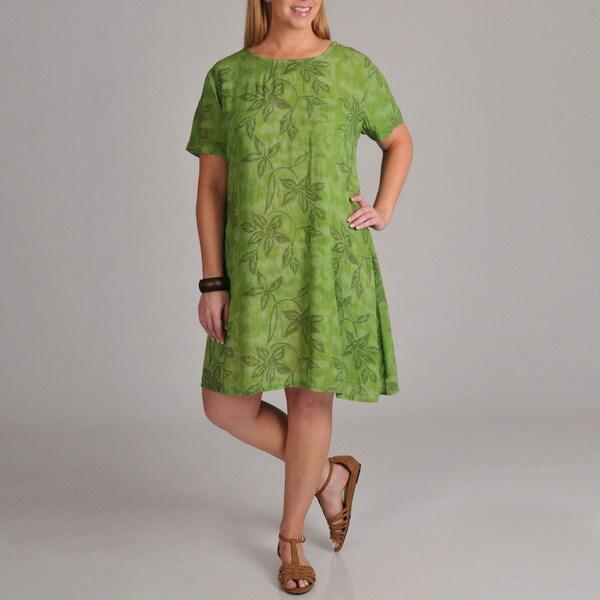 La Cera Women's Plus Leaf Print Short Sleeve Dress