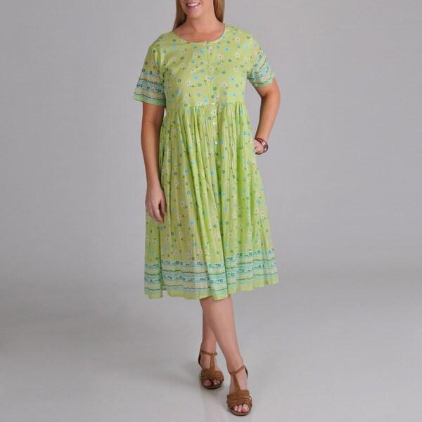 La Cera Women's Plus Embroidered Lime Dress
