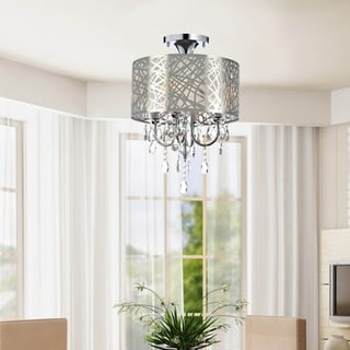Chrome and Crystal 4-light Flushmount Chandelier