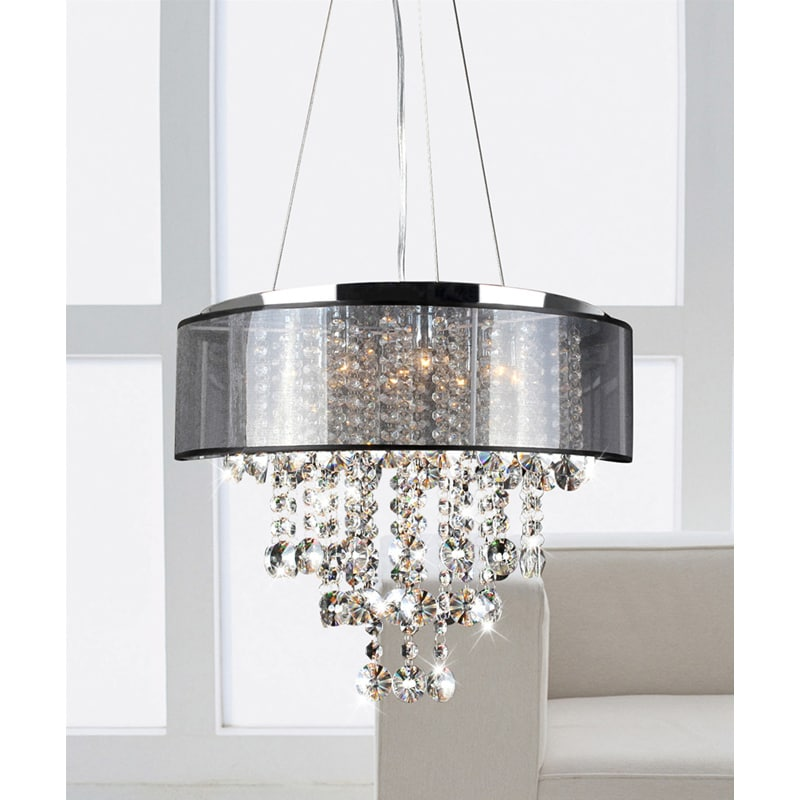 Visalia Chrome and Translucent Black Shade 9-light Crystal Chandelier - Free Shipping Today ...