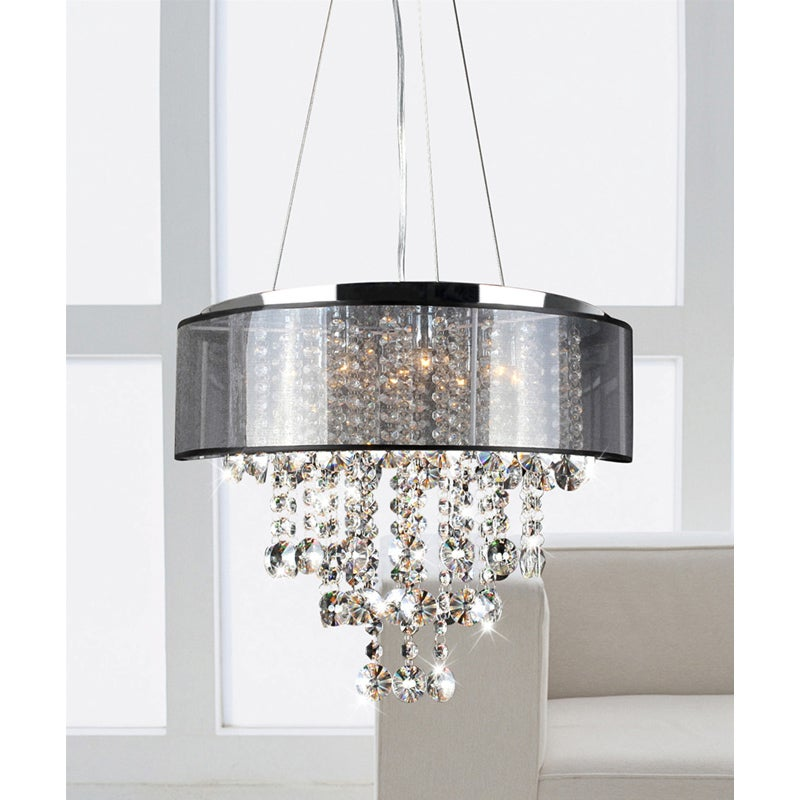Visalia Chrome and Translucent Black Shade 9-light Crystal Chandelier - Thumbnail 0
