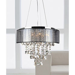 Silver Orchid Taylor Chrome and Translucent Black Shade 9-light Crystal Chandelier