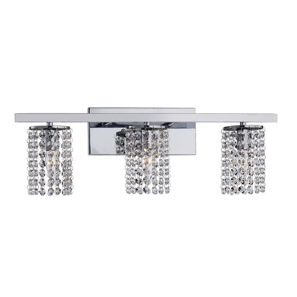 chrome and crystal 3 light round shade wall sconce free shipping