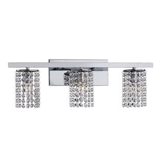Silver Orchid Tracy Chrome and Crystal 3-light Round Shade Wall Sconce