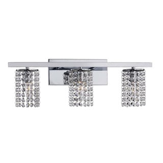 Chrome and Crystal 3-light Round Shade Wall Sconce - Thumbnail 0