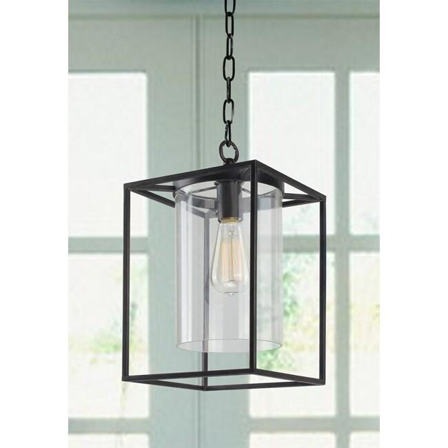 Foyer Lighting Overstock : La pedriza antique black finish glass chandelier free