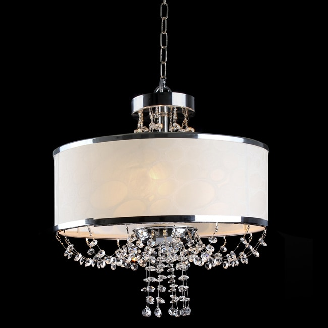 Kiara White Shade 4-light Crystal Chandelier