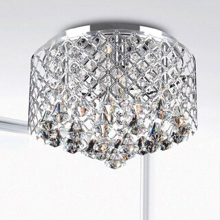 Silver Orchid Taylor Chrome Crystal Flush Mount Chandelier
