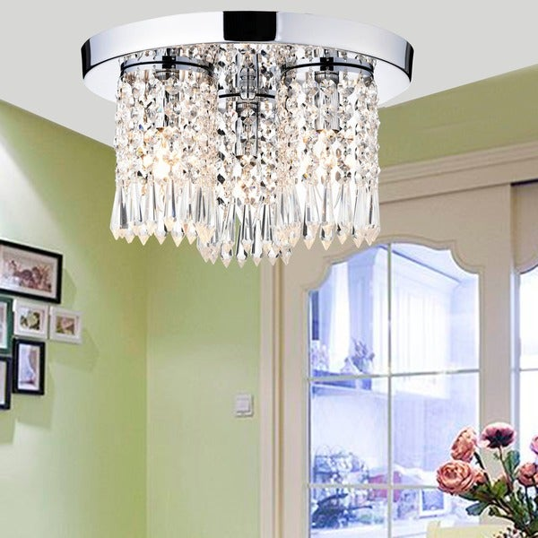 Monique Chrome and Crystal Flush Mount Chandelier