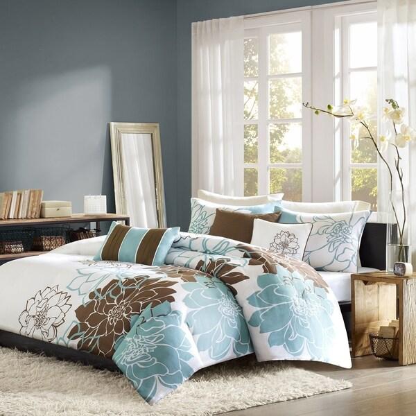 Madison Park Farrah Blue 6-piece Printed Cotton Duvet Cover Set