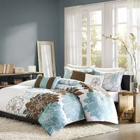 Madison Park Farrah Blue 6-piece Printed Cotton Duvet Cover Set