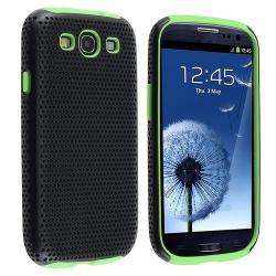 Neon Green/ Black Hybrid Case for Samsung Galaxy S III/ S3 - Thumbnail 0