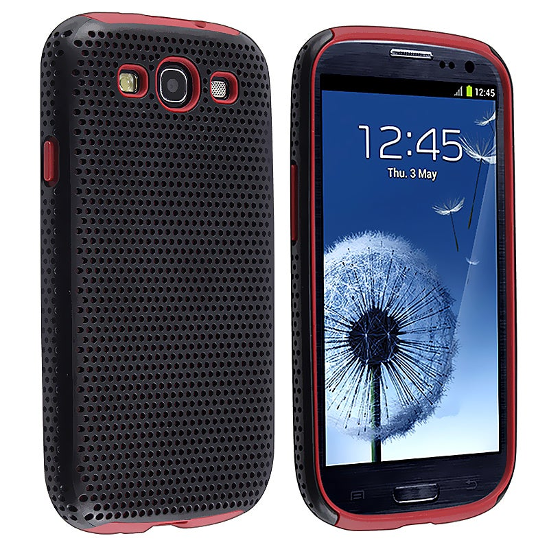 Red/ Black Hybrid Case for Samsung Galaxy S III/ S3