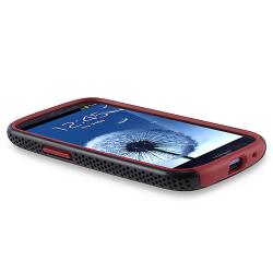 Red/ Black Hybrid Case for Samsung Galaxy S III/ S3 - Thumbnail 1