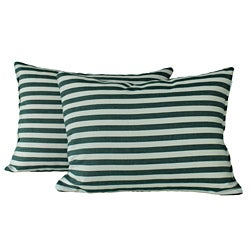 Green Stripe Throw Pillows (Set of 2)