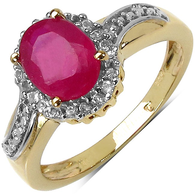 Malaika Yellow Gold Overlay Sterling Silver Ruby and White Topaz Ring