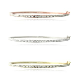 DB Designs Gold over Sterling Silver Diamond Accent Bangle Bracelet
