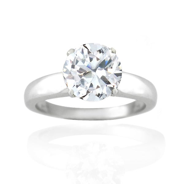 Icz Stonez Sterling Silver 3 1/2ct TGW Cubic Zirconia Solitaire Ring