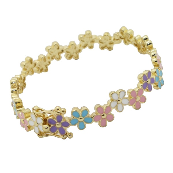 Junior Jewels 18k Gold Overlay Children's Enamel Flower Bangle