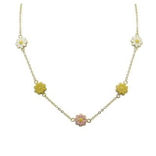 Gioelli 18k Gold Overlay Children's Enamel Daisy Necklace