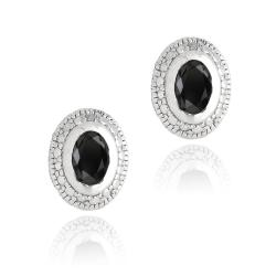 Glitzy Rocks Sterling Silver Sapphire and Diamond Accent Oval Stud Earrings