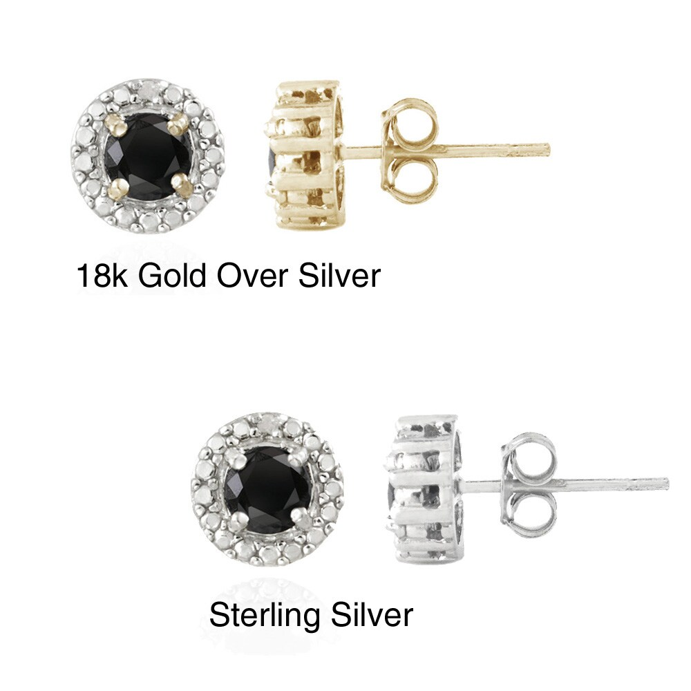 Glitzy Rocks Sterling Silver Sapphire and Diamond Accent Stud Earrings