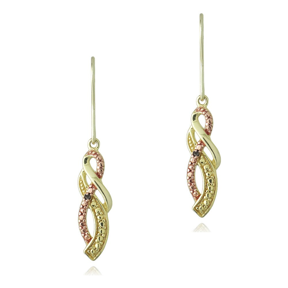 DB Designs Gold over Sterling Silver Red Diamond Twist Dangle Earrings