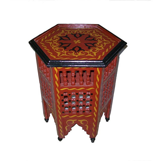 Red/Black Hand-Painted Arabesque Wooden End Table (Morocco)