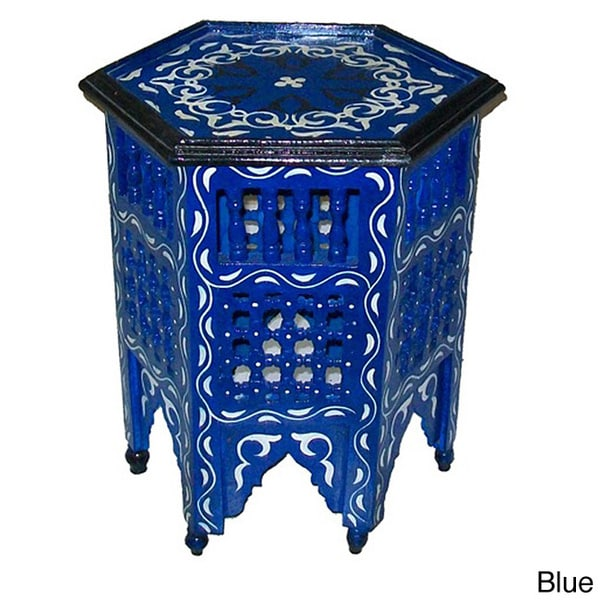 Handmade Arabesque Indoor Wooden End Table (Morocco)