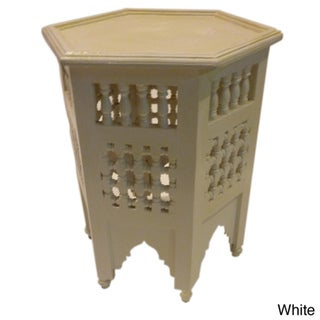 White Hand-Painted Arabesque Wooden End Table (Morocco)