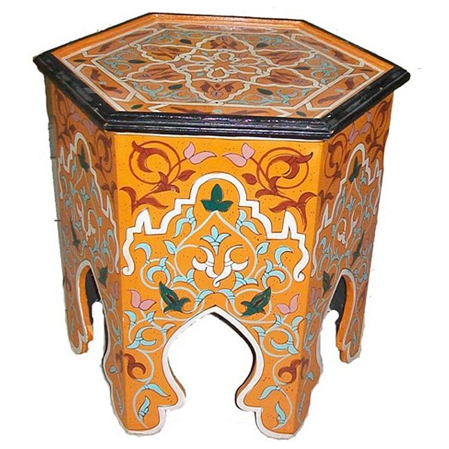 Handpainted Arabesque II Wooden Indoor End Table (Morocco)
