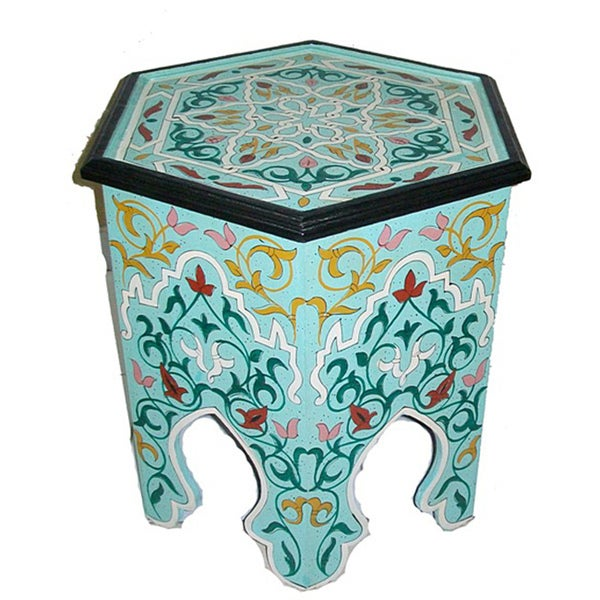 Handmade Hand-painted Arabesque II Aqua Green Wooden End Table (Morocco). Opens flyout.
