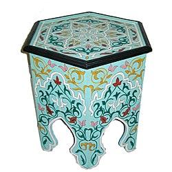 Handpainted Arabesque II Aqua Green Wooden End Table (Morocco)