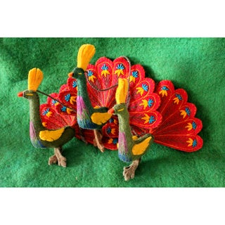 Handmade Red Feathers Felt Peacock Ornament (Kyrgyzstan)
