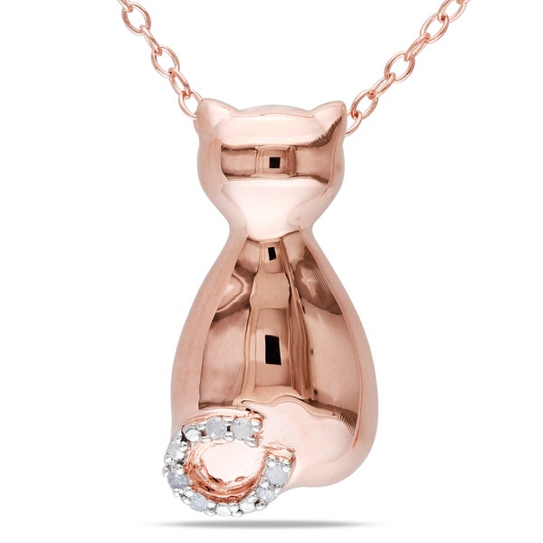 Pink Silver Diamond Accent Cat Necklace