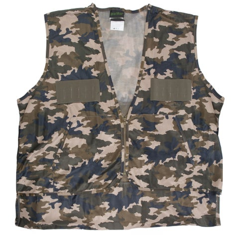 QuietWear Camoflauge Polyester Hunting Vest with Nylon Game Bag