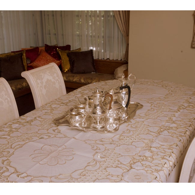 Prestige Two Tone French Floral Lace Tablecloth 72 x 126 inch