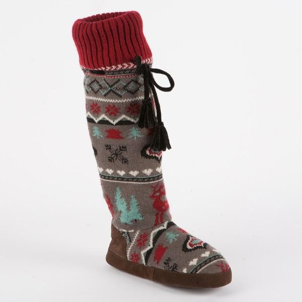 Muk Luks 'Angie' Women's Retro Nordic Knee-high Slipper Sock