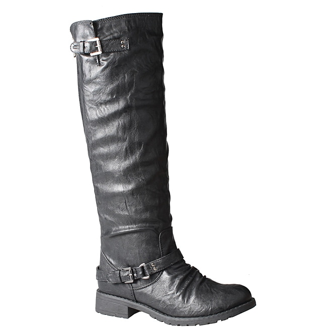 Refresh by Beston Women's 'Reba' Black Riding Boots