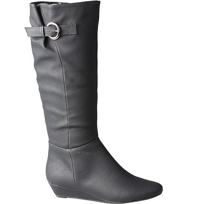 Refresh by Beston Women's 'Godiva' Black Wedged Boots
