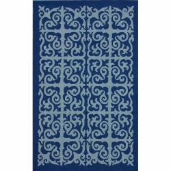 Handmade San Miguel Blue Indoor/ Outdoor Rug (8' x 10')